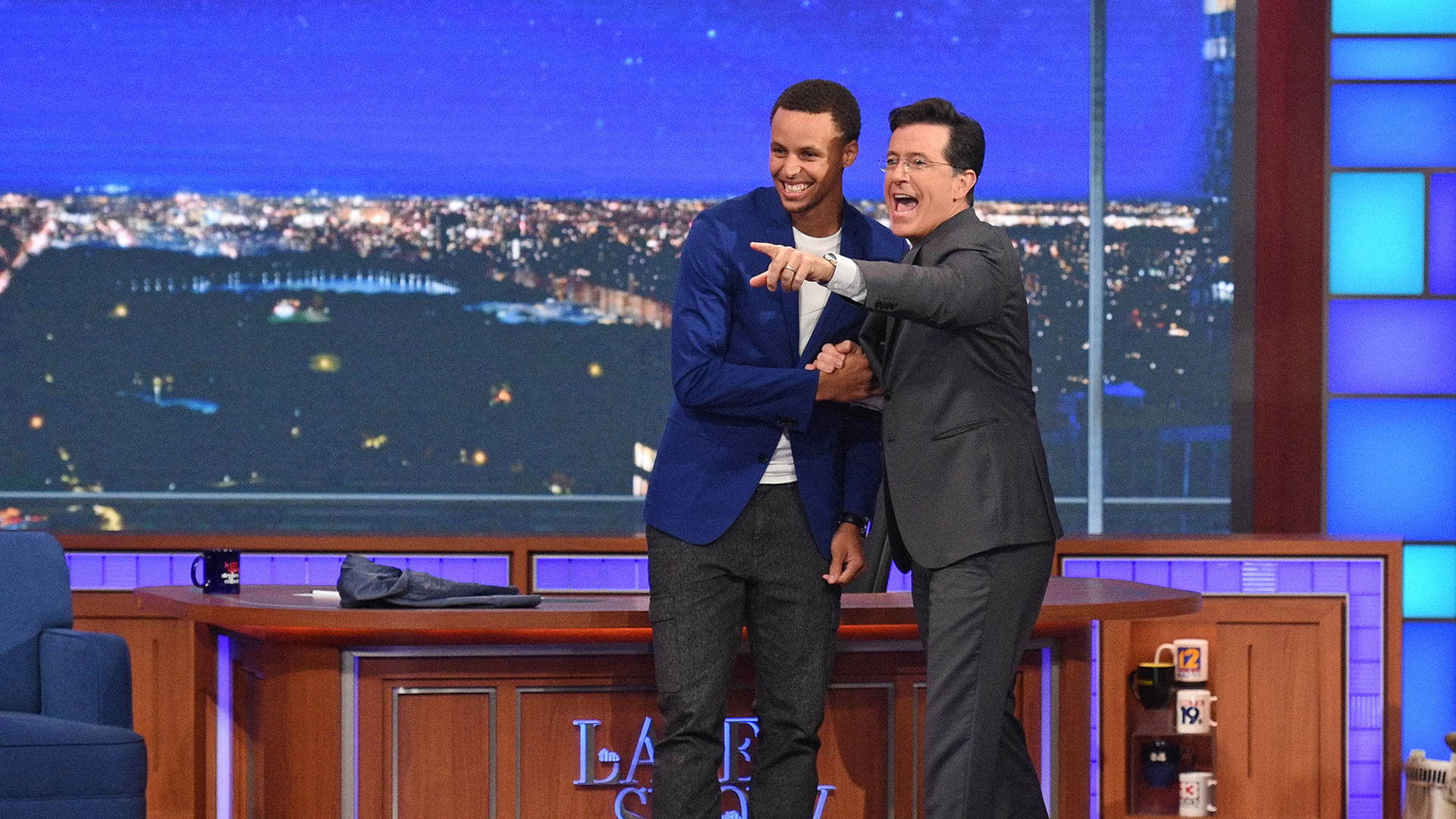Stephen Curry and Stephen Colbert