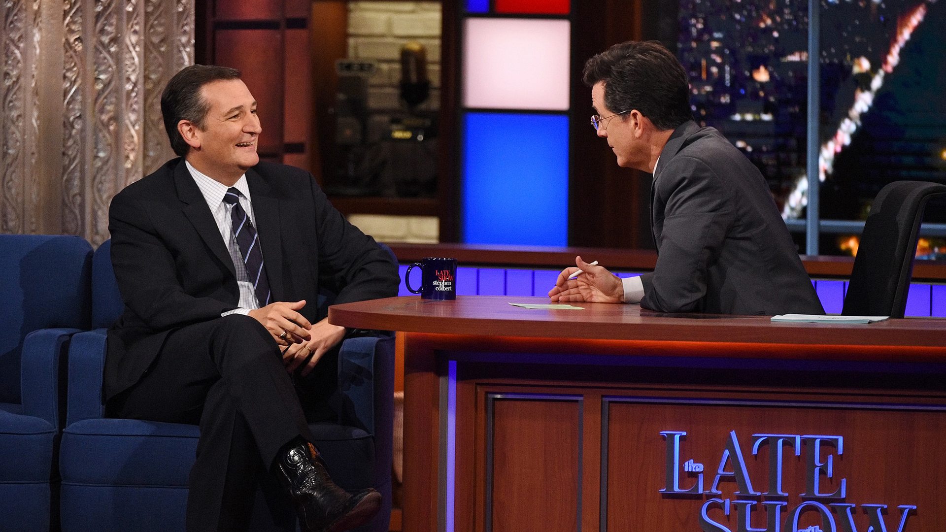 Ted Cruz and Stephen Colbert