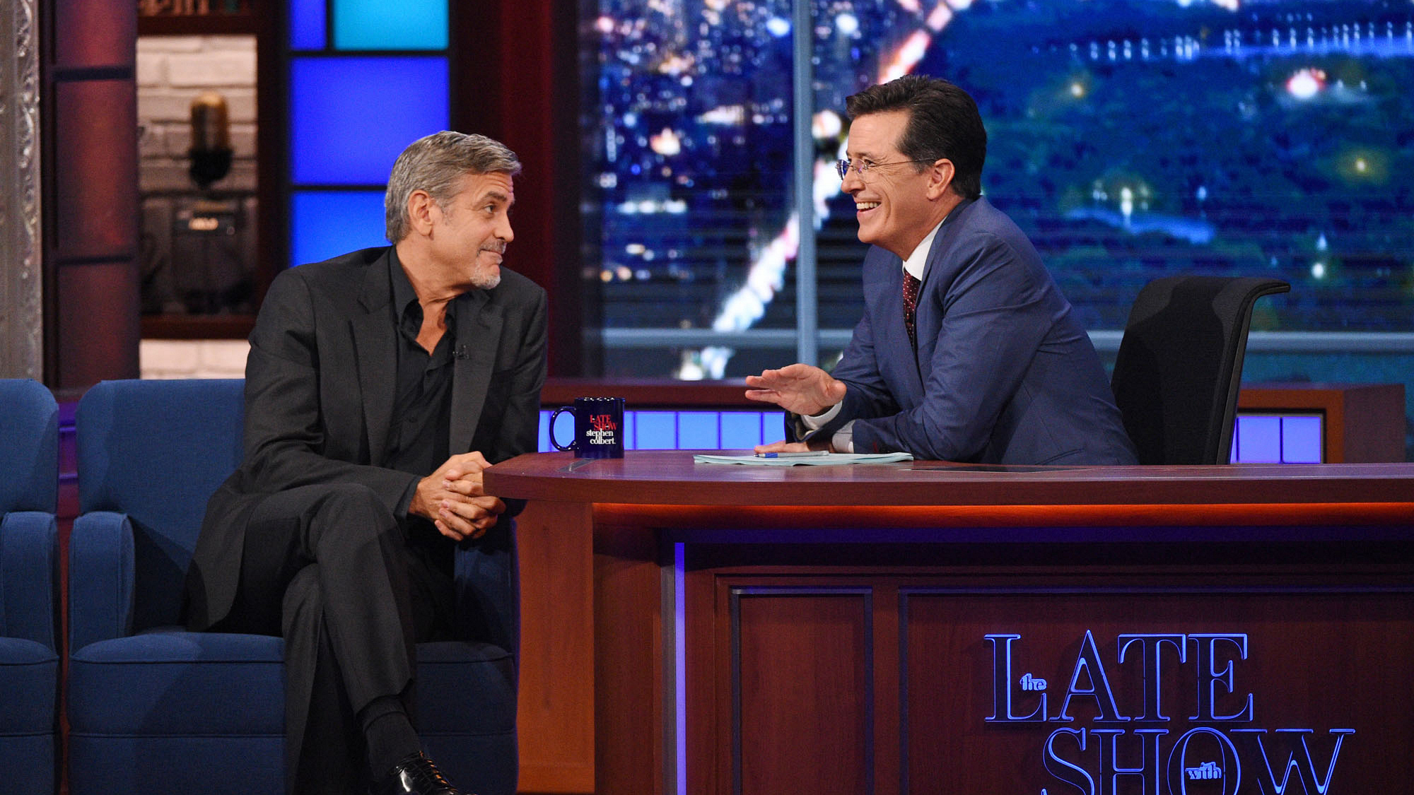 George Clooney and Stephen Colbert