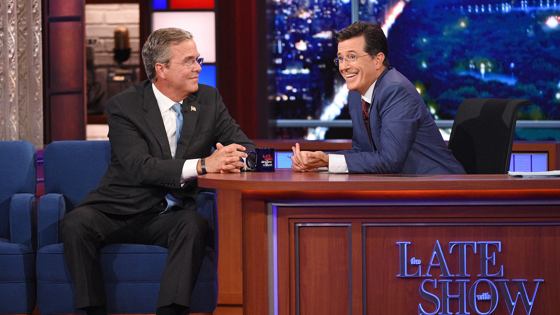 Jeb Bush and Stephen Colbert