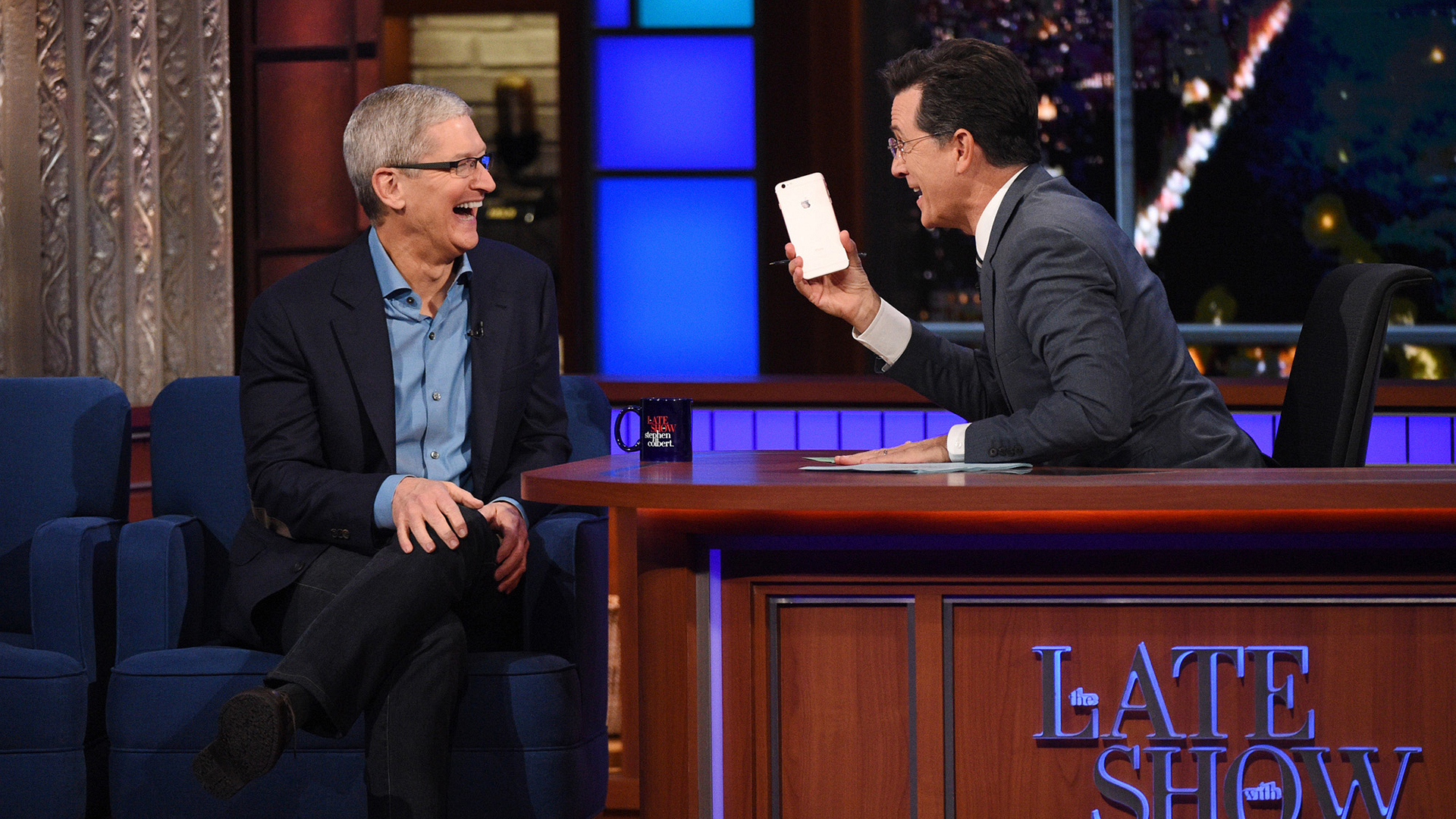 Tim Cook and Stephen Colbert