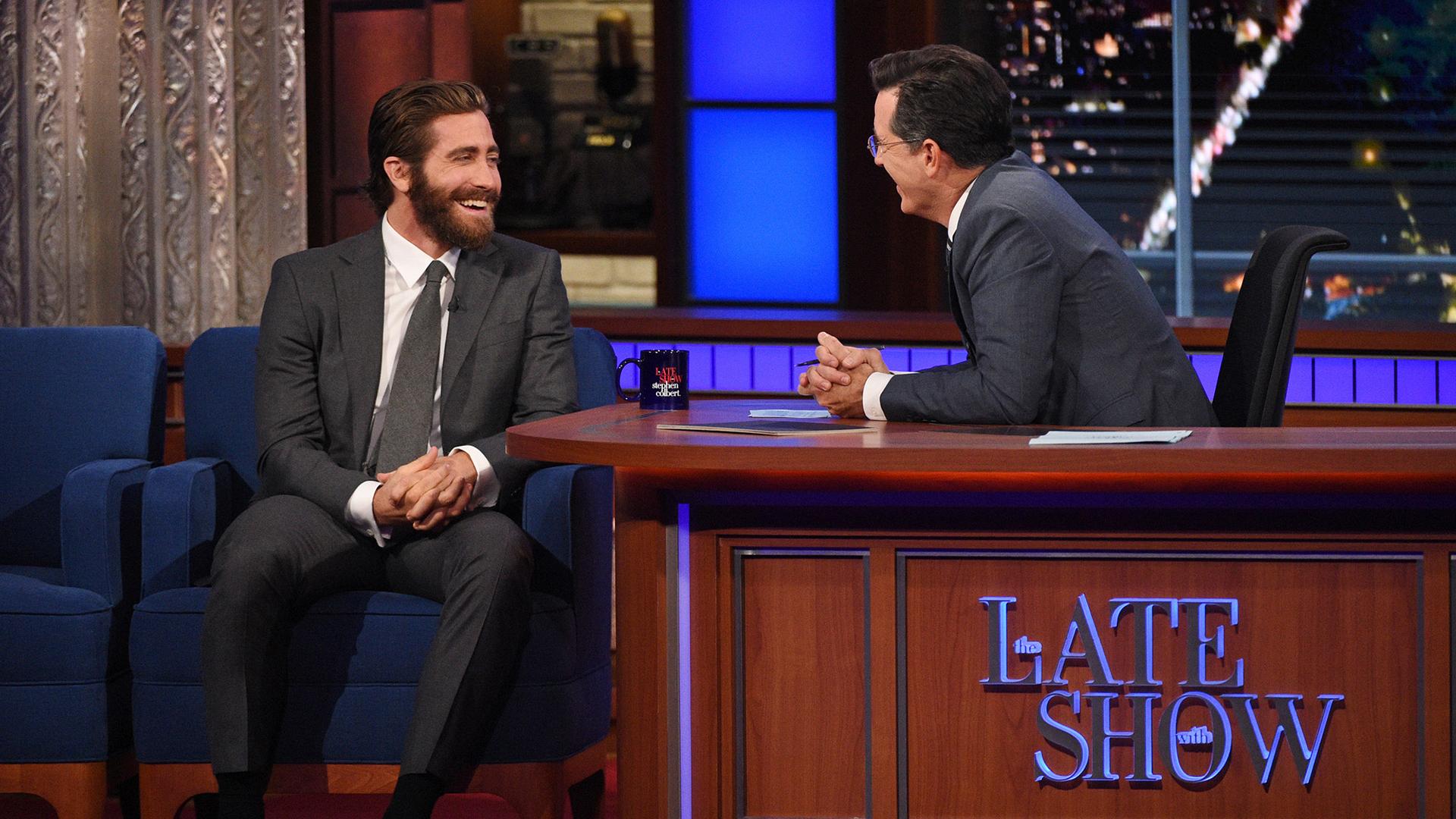 Jake Gyllenhaal and Stephen Colbert