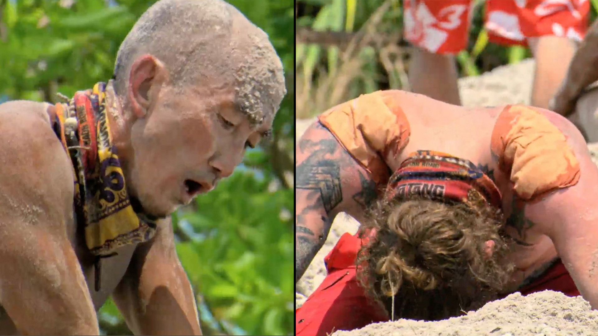 The heat takes a toll on the castaways during the Reward Challenge.