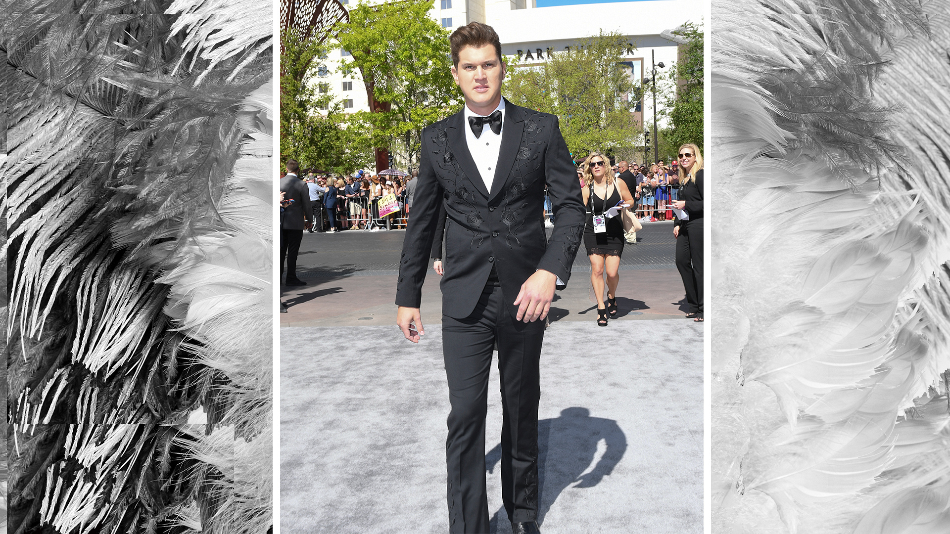 Jon Pardi dons a black-and-white ensemble with subtle stitching.