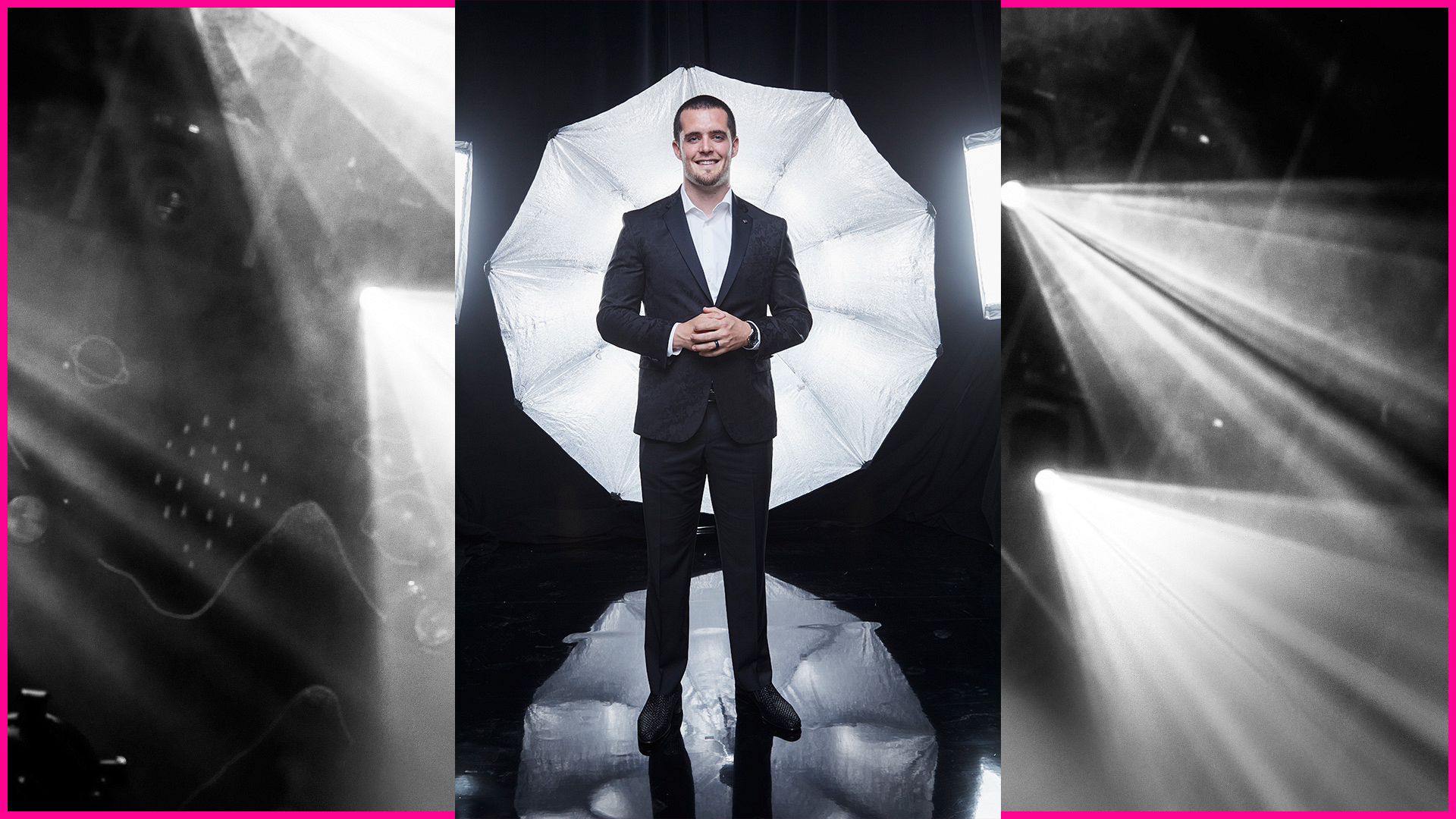 Oakland Raiders quarterback Derek Carr trades in his uniform for a suit at the 52nd ACM Awards.