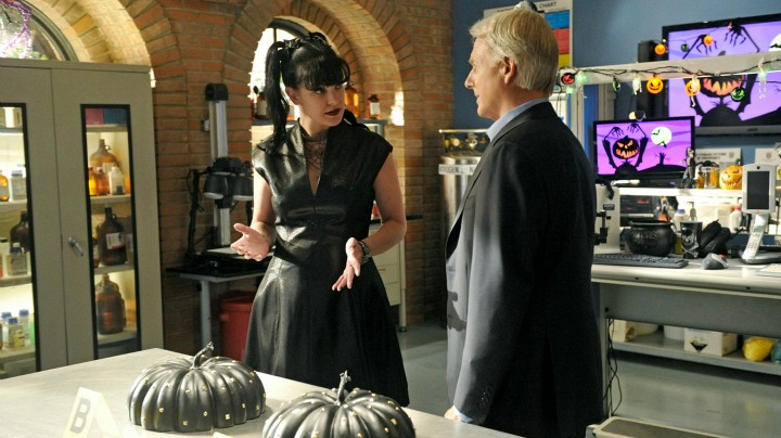 Pauley Perrette as Abby Sciuto and Mark Harmon as Leroy Jethro Gibbs