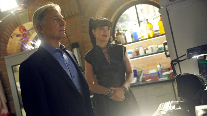 Mark Harmon as Leroy Jethro Gibbs and Pauley Perrette as Abby Sciuto