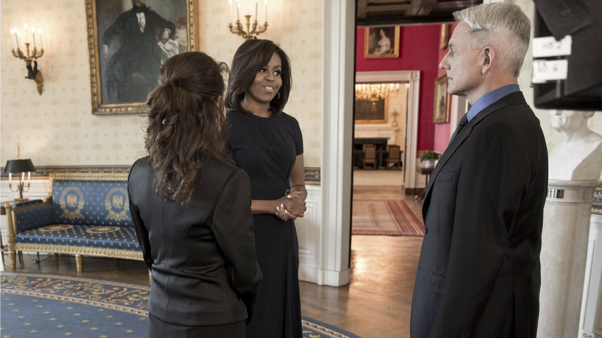 The scene with First Lady Michelle Obama was filmed inside the Blue Room of the White House.