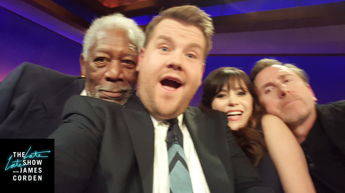 Morgan Freeman, Zooey Deschanel, and Tim Roth
