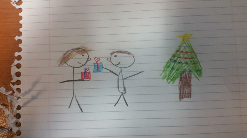Harry gives James two gifts on Christmas holiday.