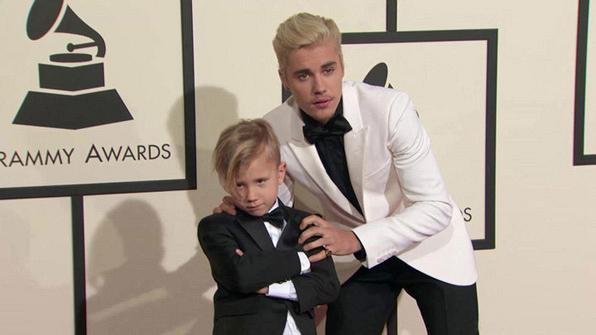 GRAMMYs 2016: Justin Bieber and Jaxon