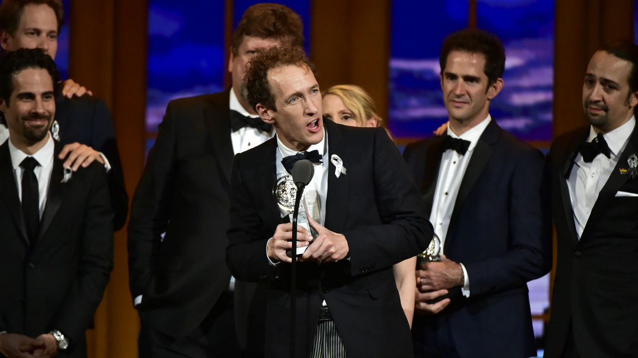 Hamilton wins the 2016 Tony Award for Best Musical.
