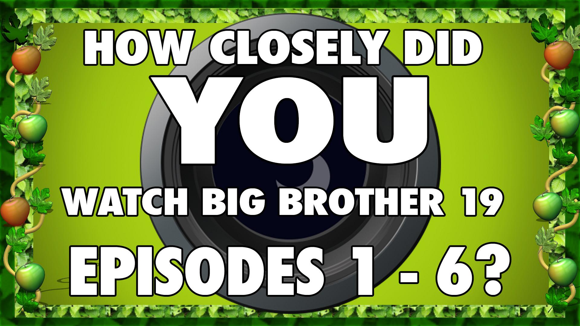 Big Brother 19 Quiz: Episodes 1-6