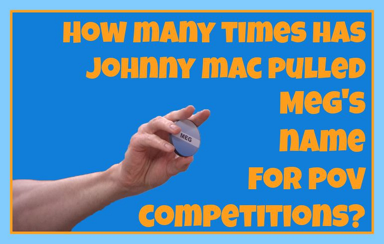 How many times has Johnny Mac pulled Meg's name for POV competitions?