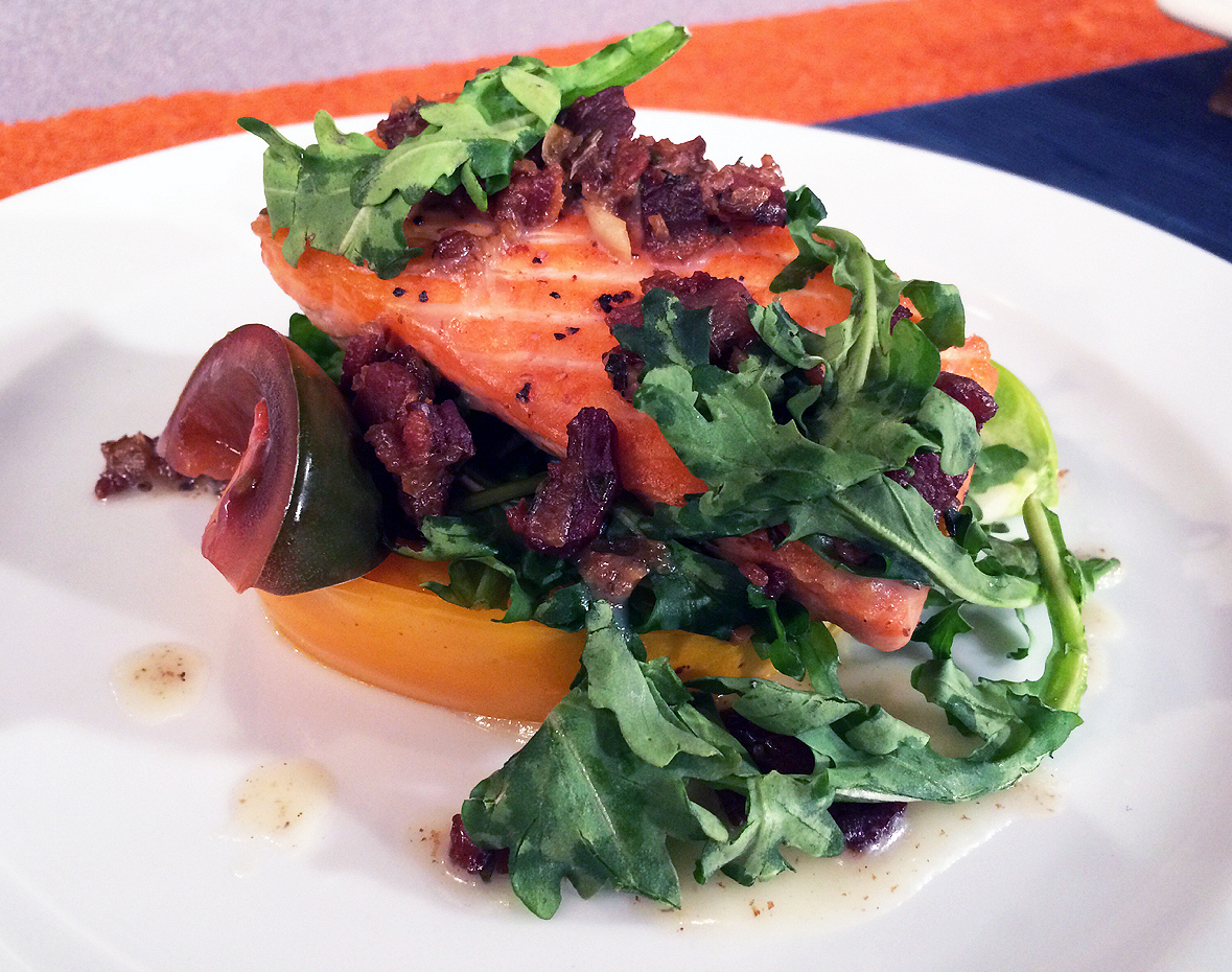 Deconstructed salmon BLT by chef Graham Elliot