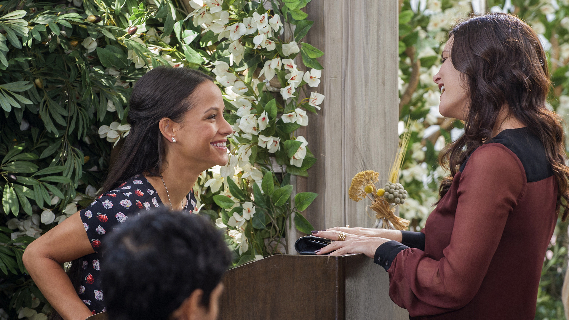 Jessica and The Bold and the Beautiful's Heather Tom have a laugh on set.