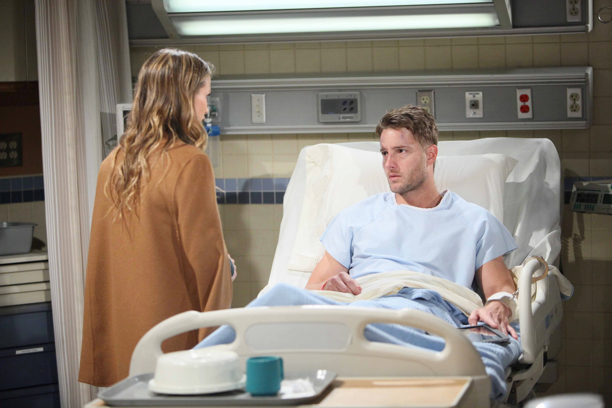 Chelsea rushes to the hospital to question Adam.