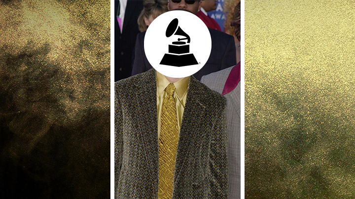 Who wore this textured overcoat and gold dress shirt?