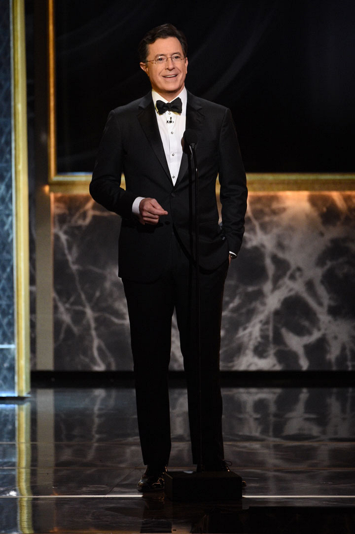 Stephen Colbert hits center stage as host for the emotional evening.