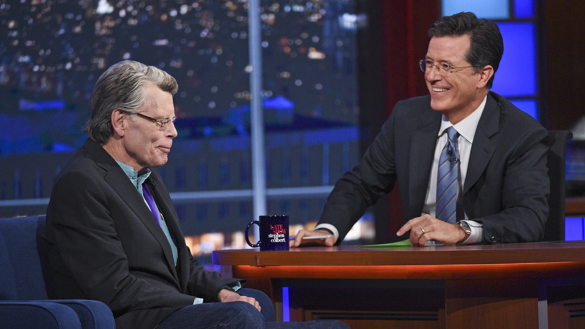 Stephen King and Stephen Colbert