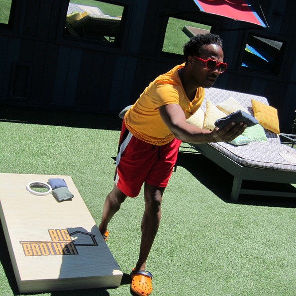 Lawon Playing Big Brother Cornhole
