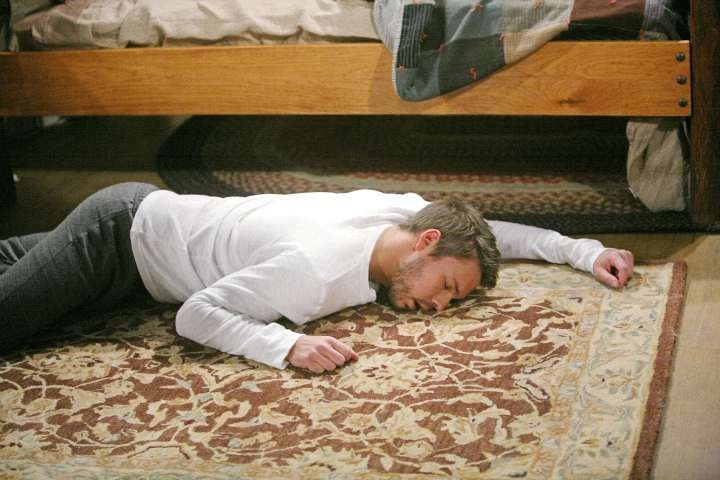 Liam collapses on the floor.