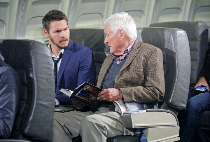 Liam confides in a fellow passenger.