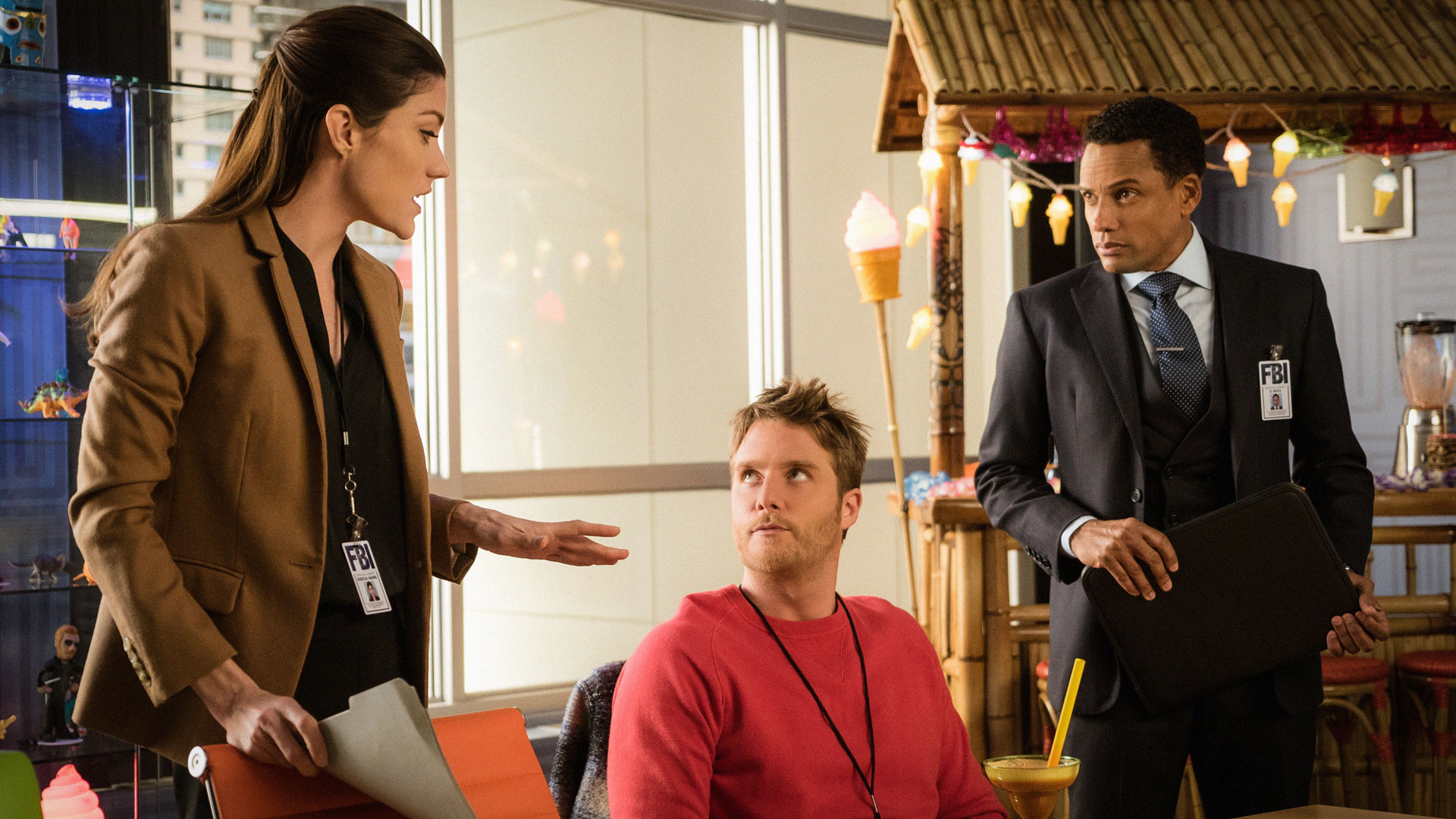 Jennifer Carpenter as Agent Rebecca Harris, Jake McDorman as Brian Finch, and Hill Harper as Agent Spellman Boyle