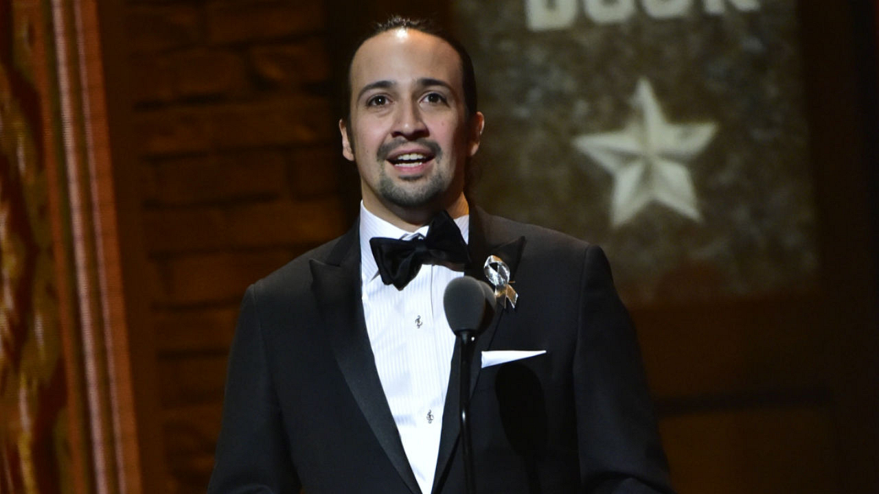 Lin-Manuel Miranda wins the 2016 Tony Award for Best Original Score (Music and/or Lyrics) Written for the Theatre.