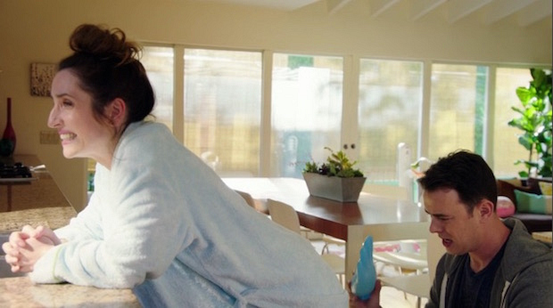 Life in Pieces: Greg tactfully uses an ice glove to help his wife who just gave birth.