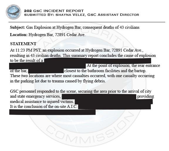 Hydrogen Bar Incident Report