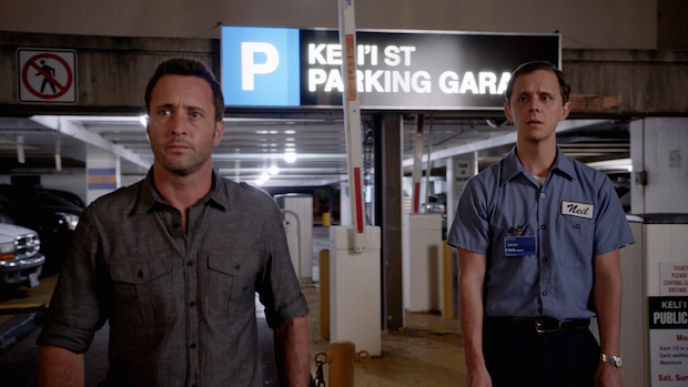 Alex O'Loughlin as Steve McGarrett and Joe Egender as Neil Palea