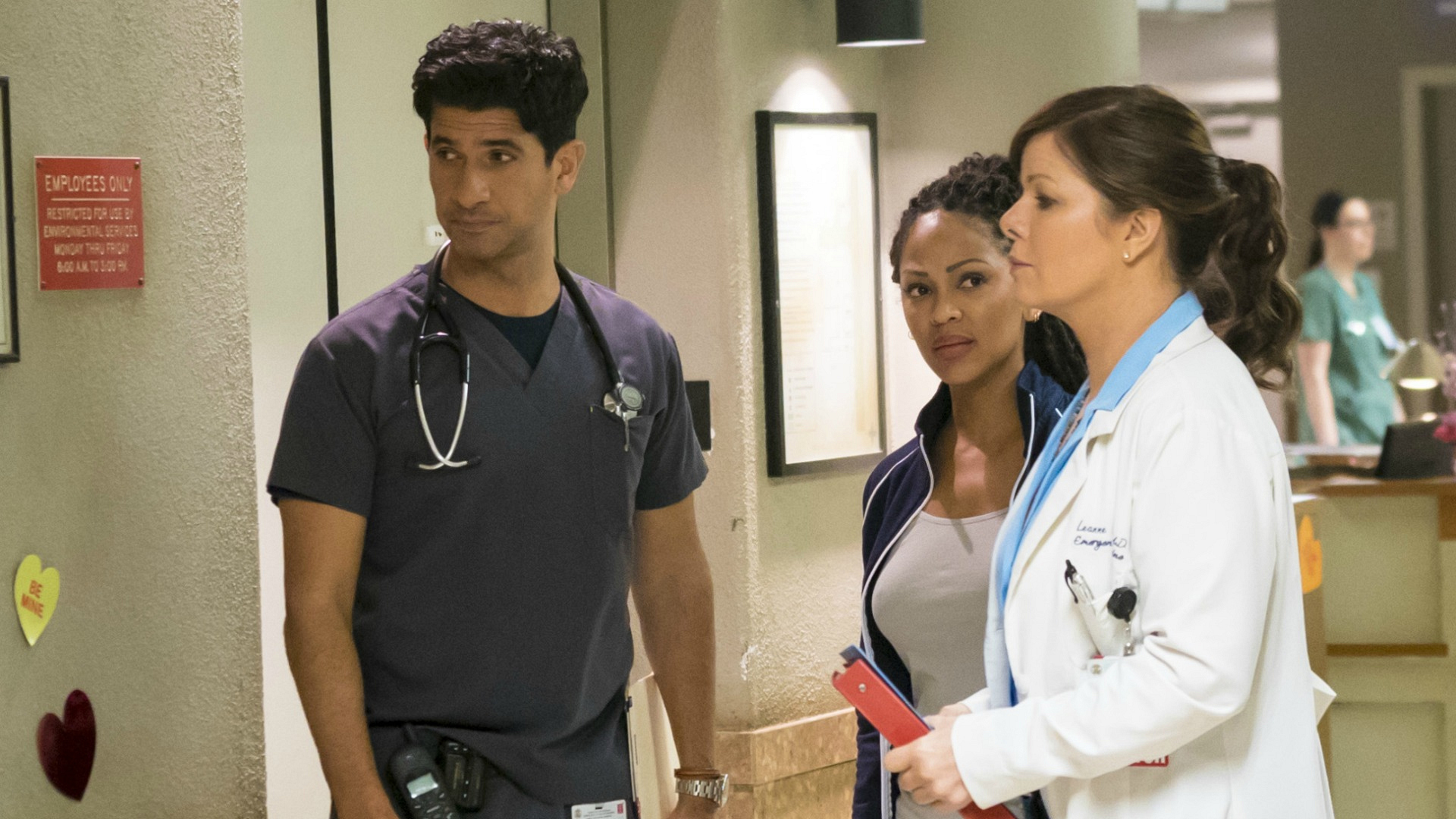 Raza Jaffrey as Dr. Neal Hudson, Meagan Good as Dr. Grace Adams, and Marcia Gay Harden as Dr. Leanne Rorish