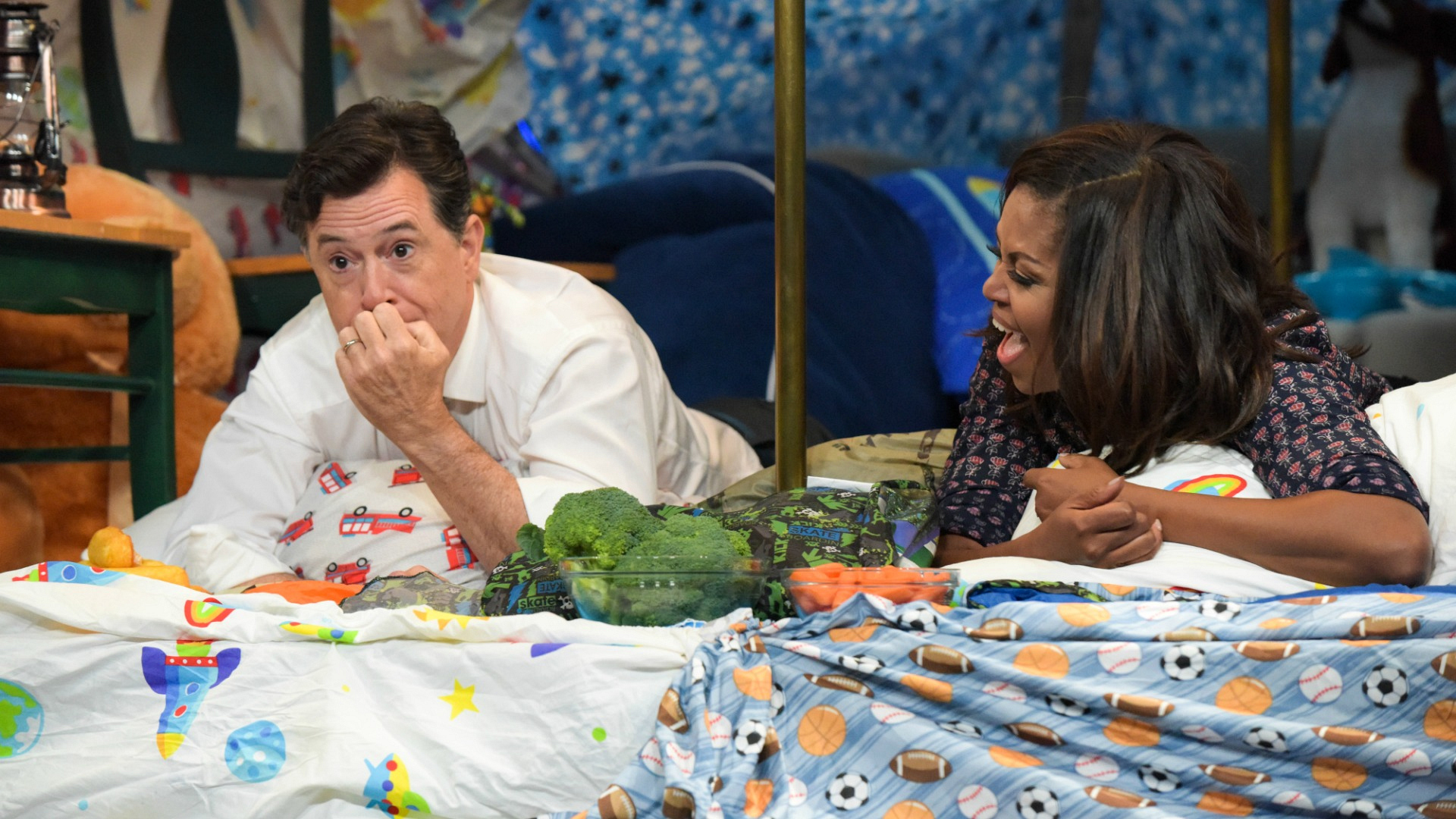 When she built a blanket fort with Stephen Colbert on The Late Show