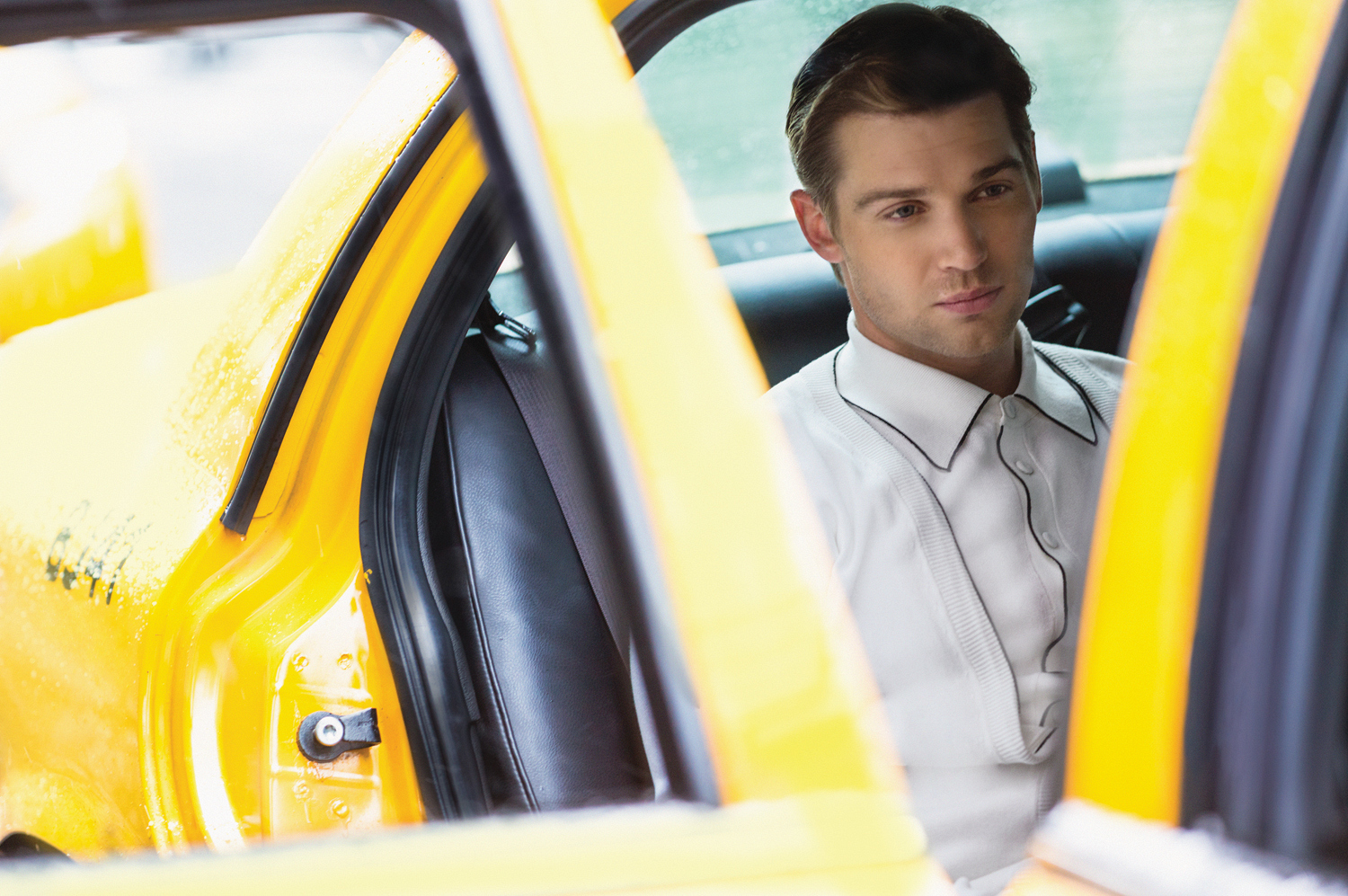 Mike Vogel in a Yellow Taxi - Watch! Magazine August 2014