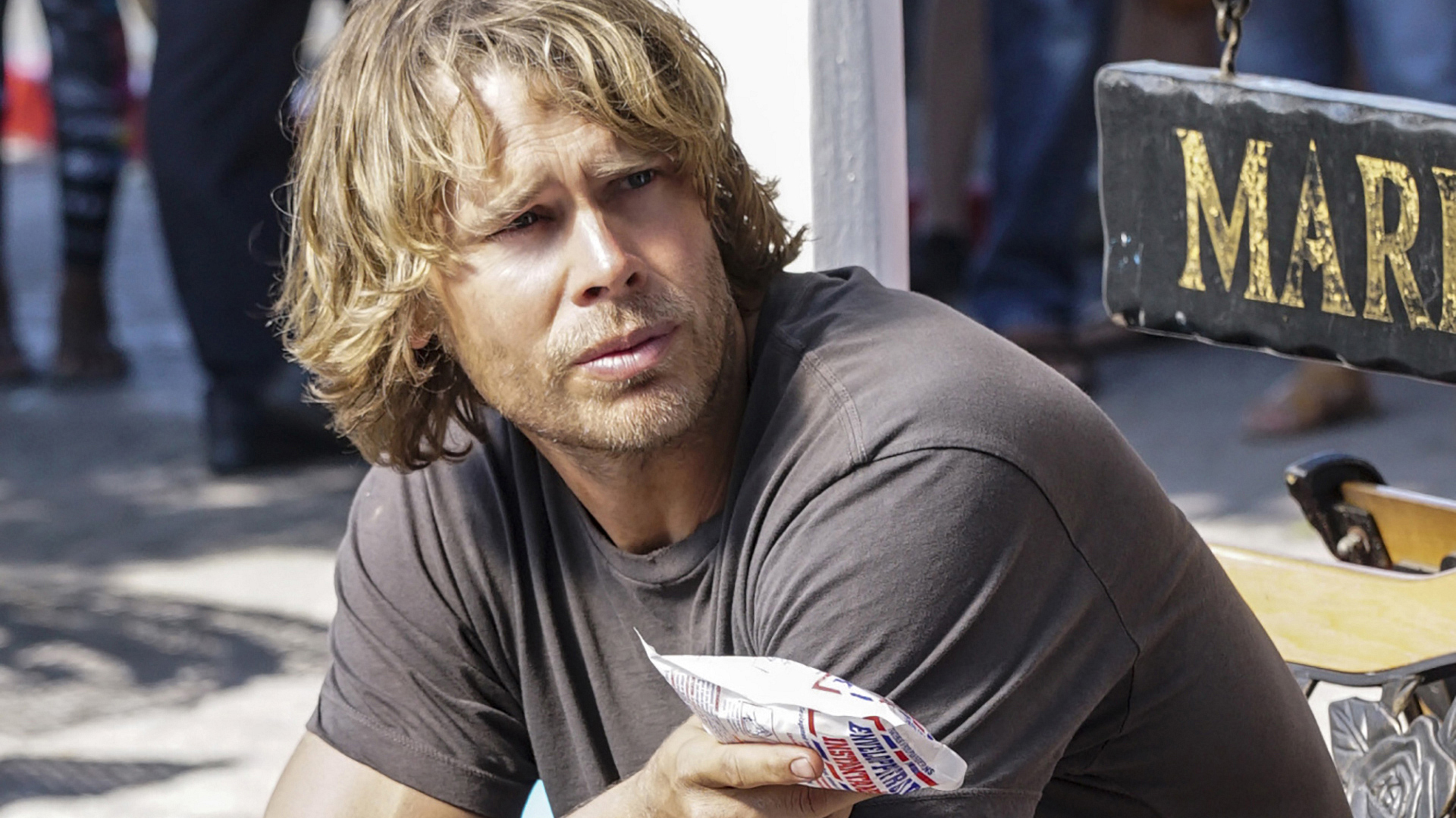 Deeks after going undercover.
