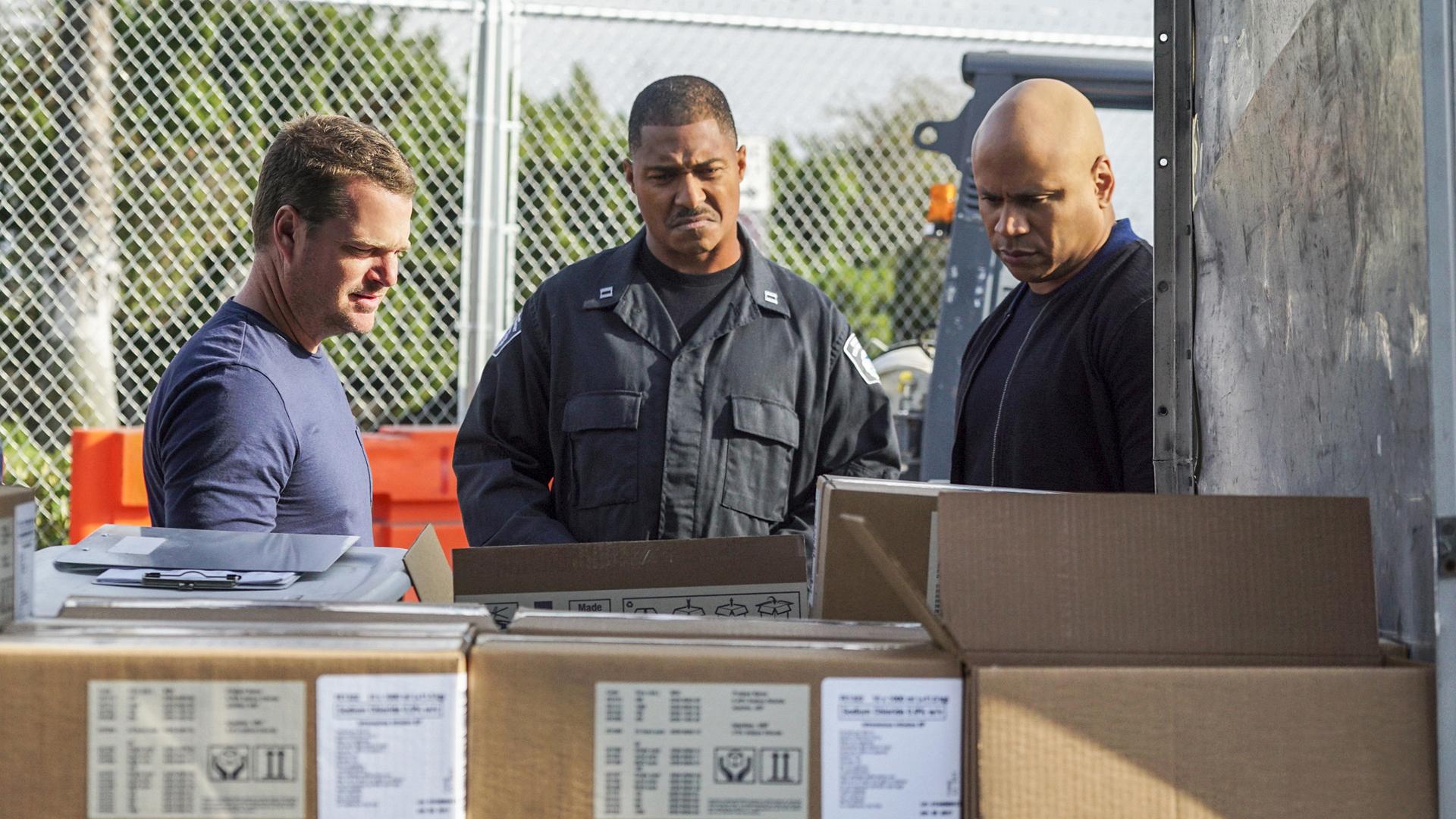 Callen and Sam investigate the scene.