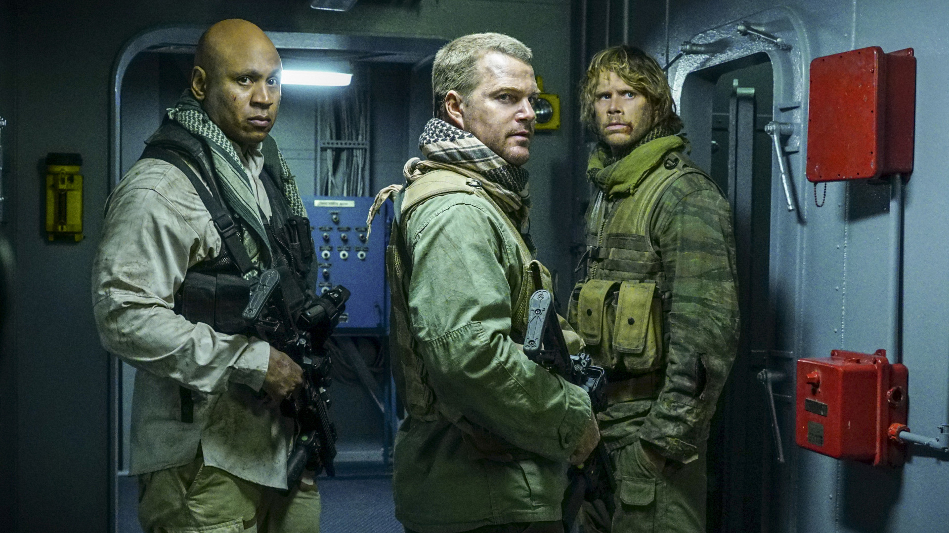 Sam, Callen, and Deeks fully geared up.