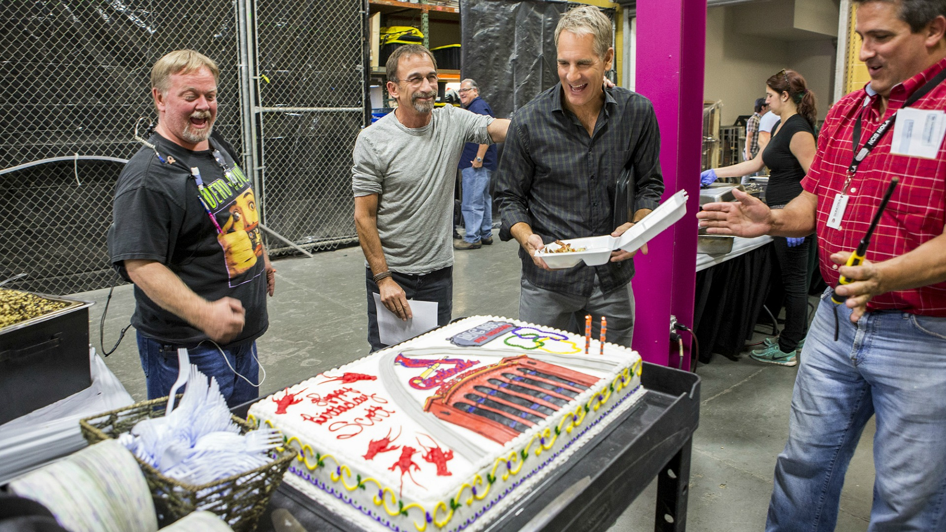 "The NCIS: New Orleans crew celebrated Scott Bakula's birthday between takes of ""Darkest Hour."""