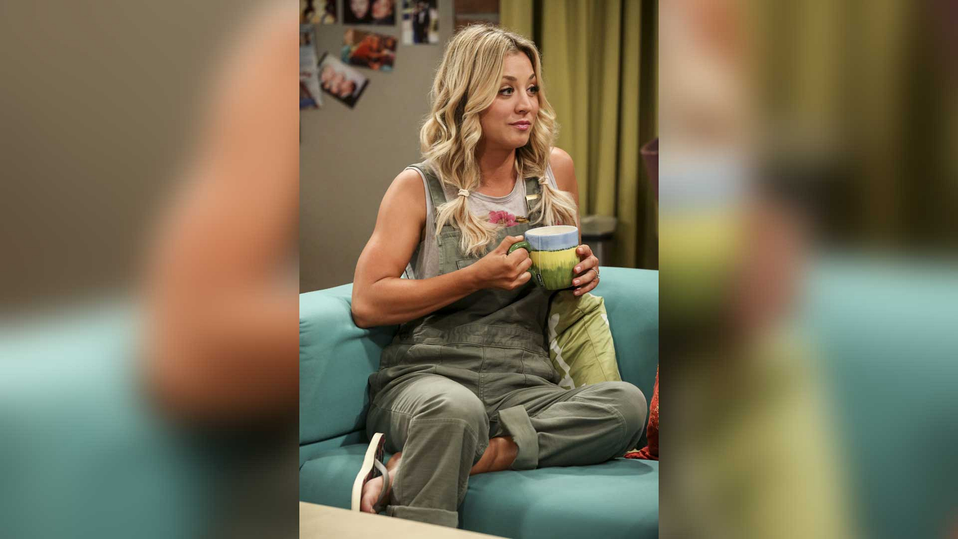 """""""Olive"""" Penny's cuffed overalls and flip-flops."""