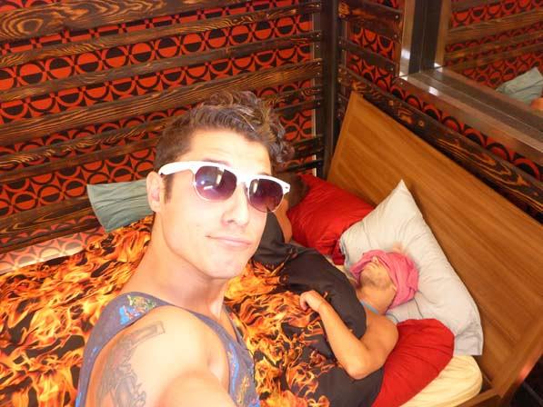 Cody takes a selfie with a sleepy Frankie