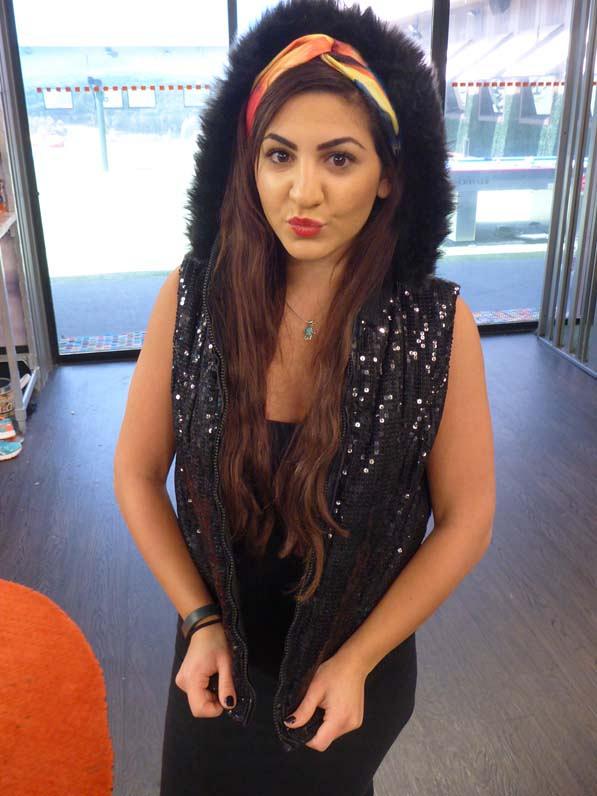 Victoria wearing Frankie's vest
