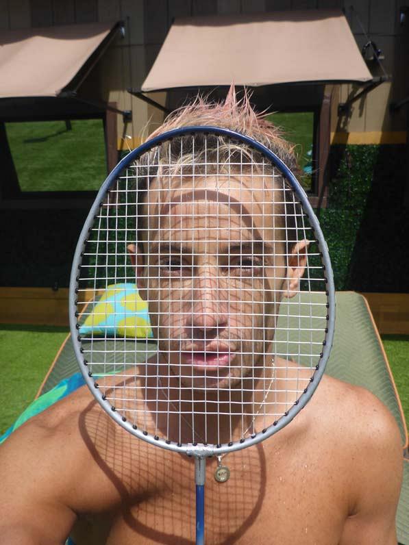 Tennis racket selfie