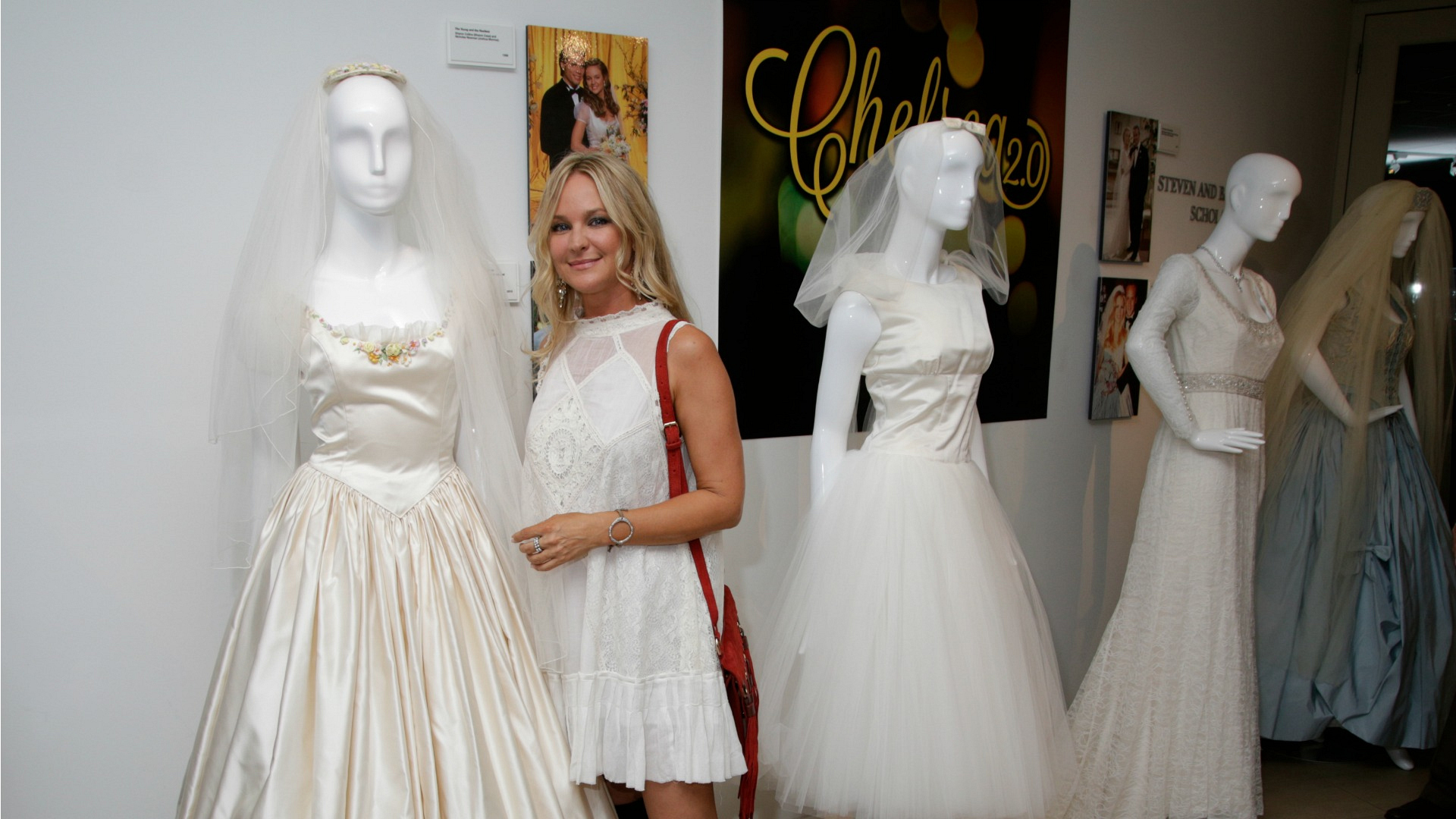 Sharon Case stopped to see one of her gorgeous gowns.