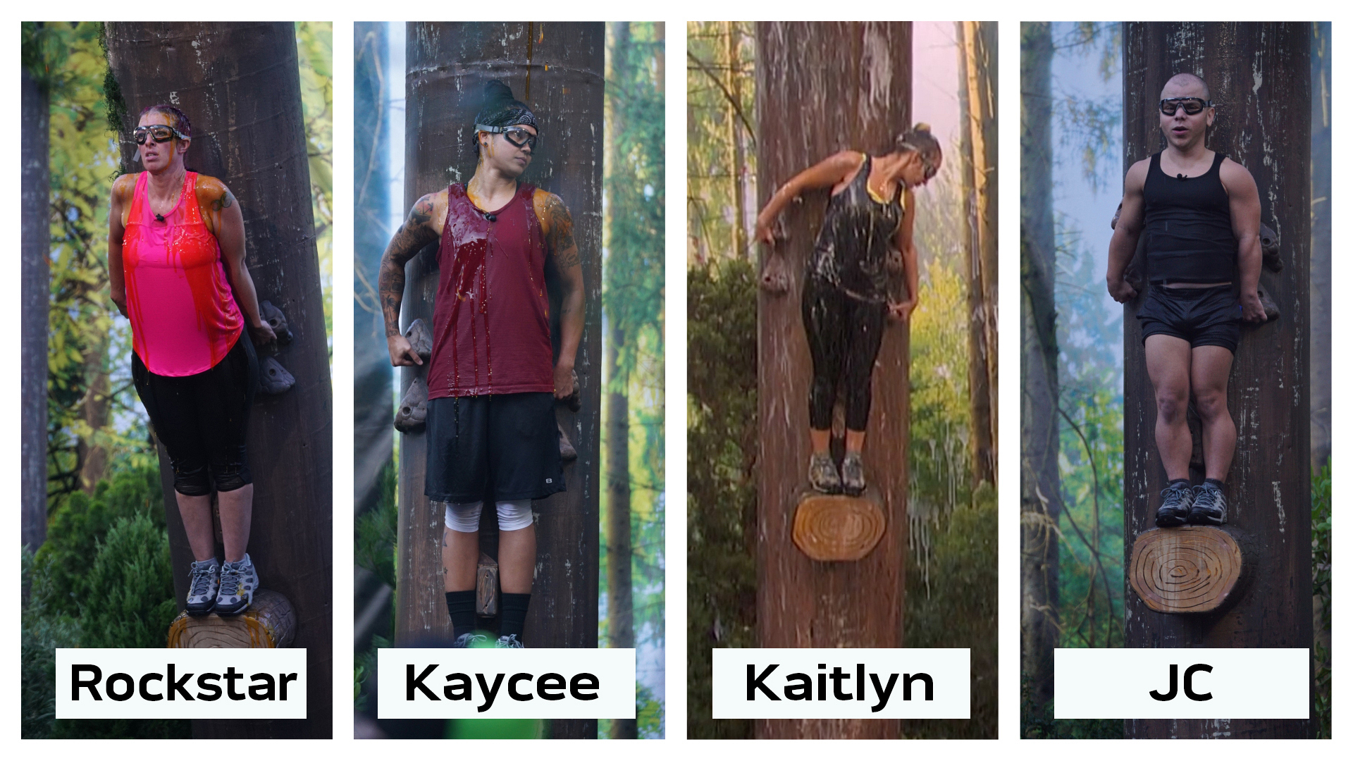 "Who was the first person to fall off their log in the ""Out On A Limb"" HOH endurance competition?"