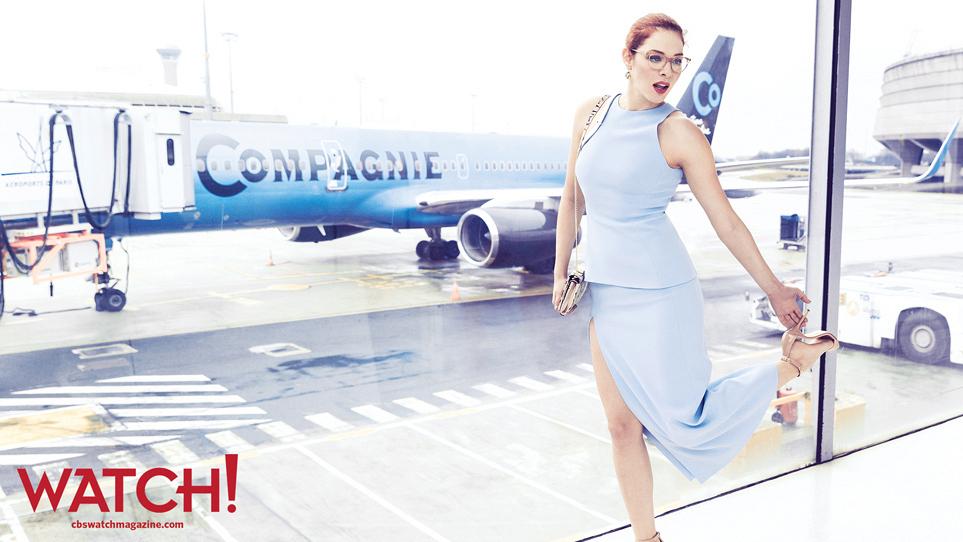 Rachelle Lefevre boards La Compagnie at Charles de Gaulle Airport in Paris.