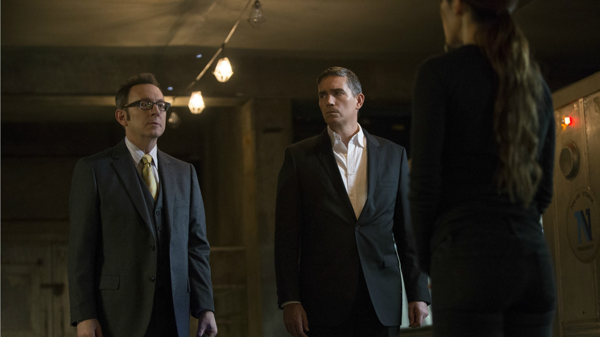 Shaw, Finch, and Reese have a serious conversation.