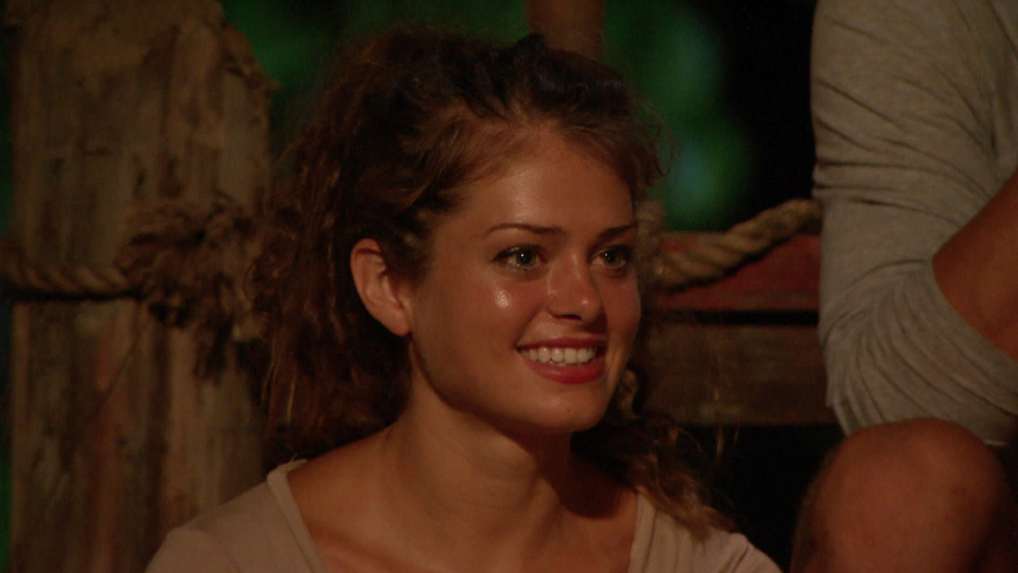 Hali glows at Tribal Council on the Ponderosa side