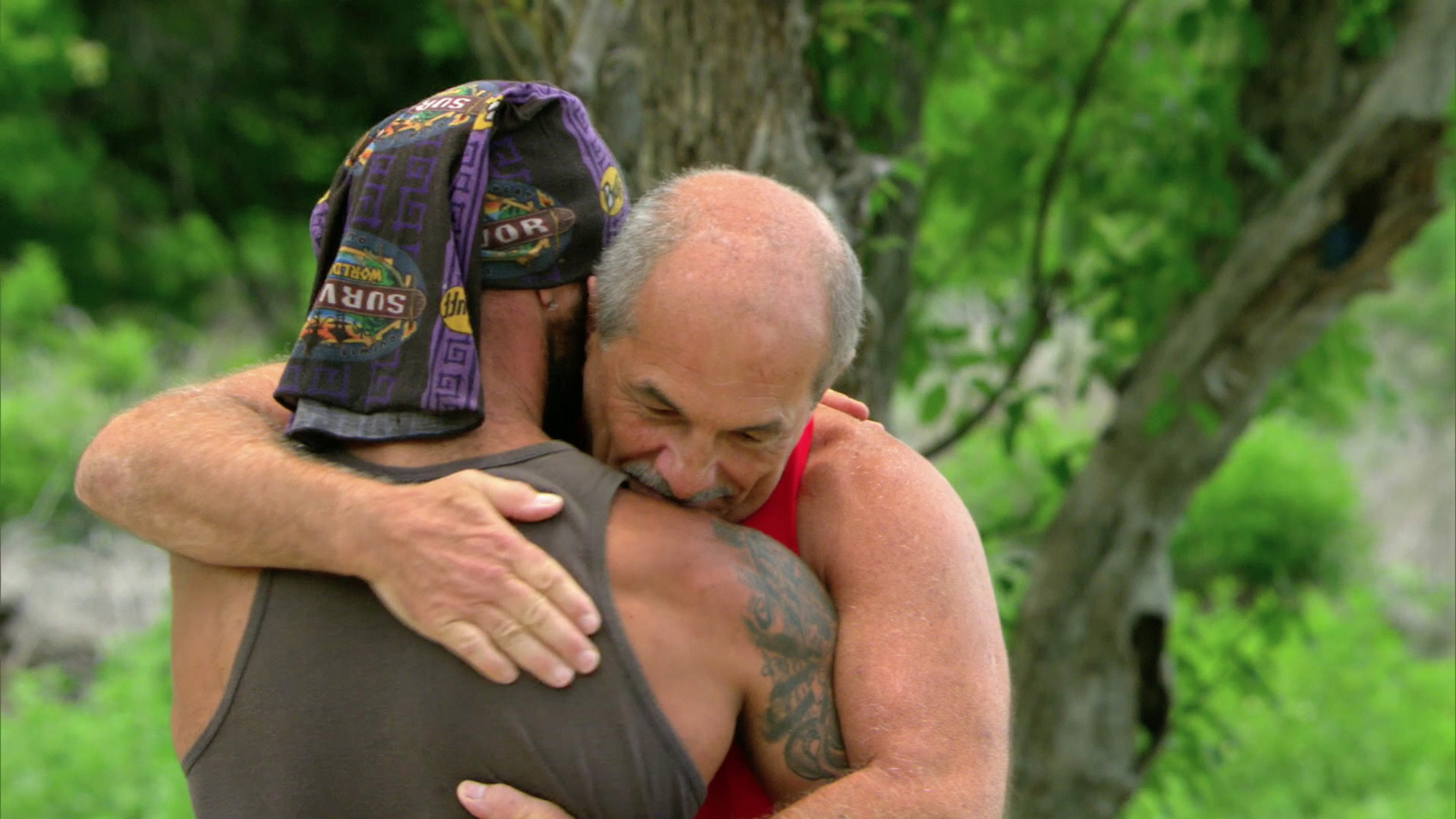 Rodney gives his father a wicked big hug