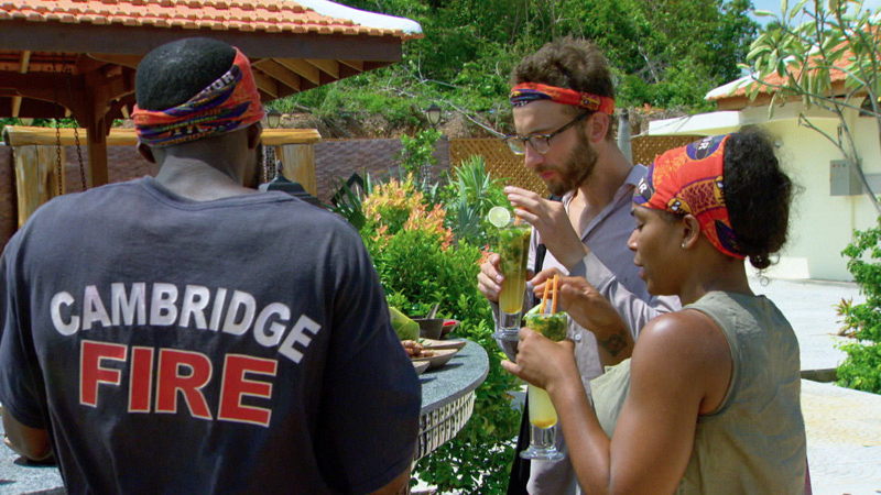 Stephen brings Jeremy and Tasha on his Reward after winning the challenge.